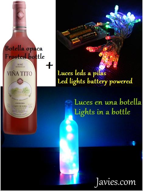 Adorno navidad con luces led dentro de una botella