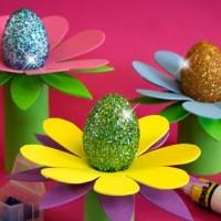 huevos decorados con glitter