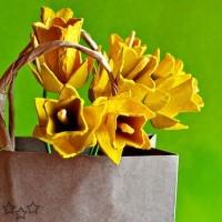 Flores con cartones de huevos