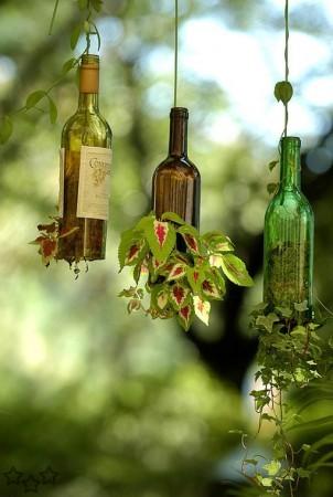 decorar el jardín con botellas