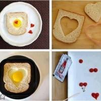 Huevos fritos con pan de molde