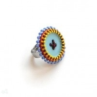 bisuteria con botones - anillo con mostacillas