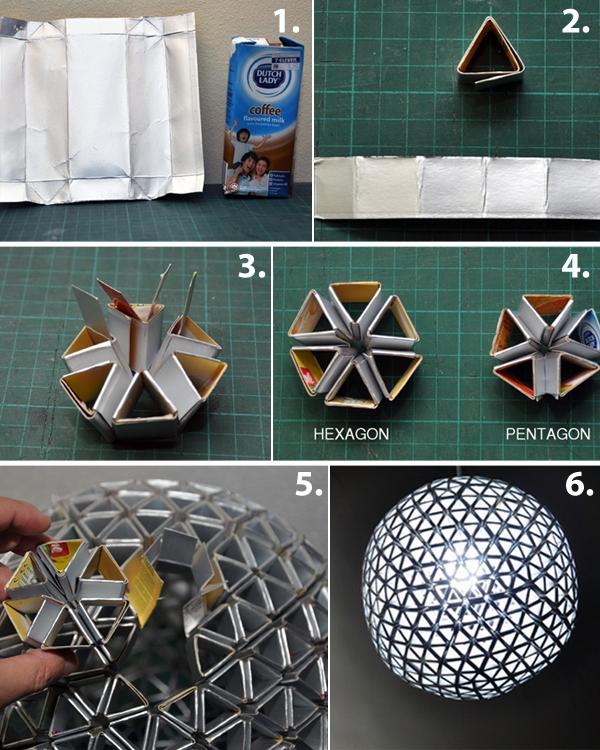 lampara con envases tetrapack