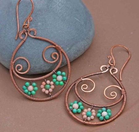 pendientes de cobre con rocallas