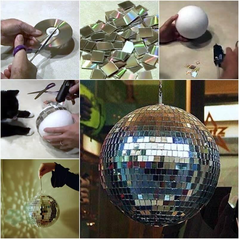bola de espejos con cdus reciclados