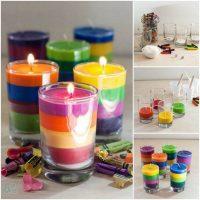 Velas de colores caseras recicladas