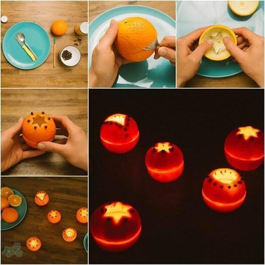 lamparitas velas naranjas