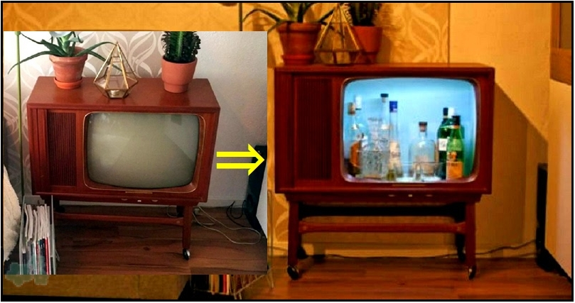 Transforma una vieja tele en un mueble bar for Como reciclar una mesa de tv vieja